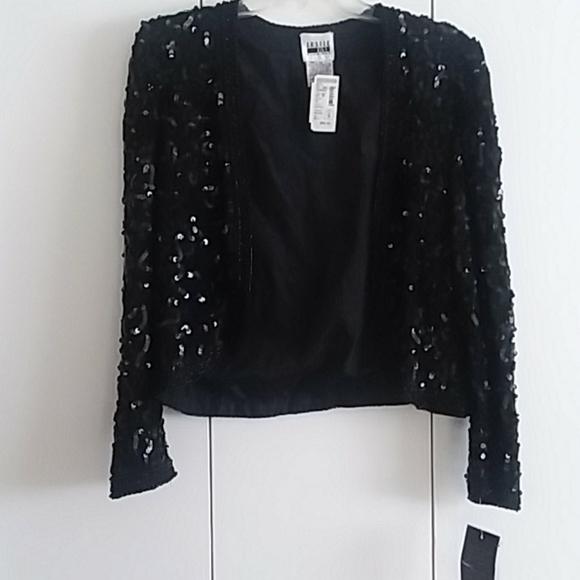Leslie Fay Evenings Black Sequined & Beaded Jacket
